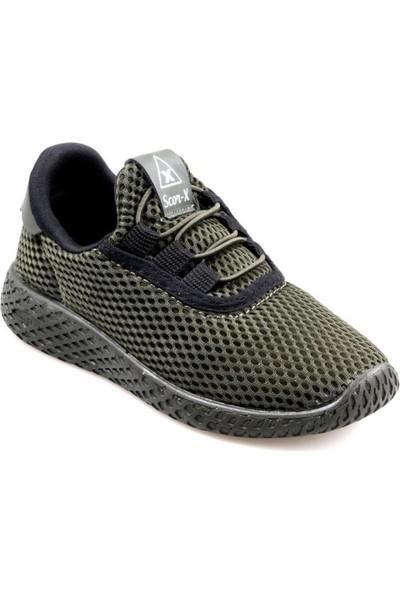 Scor-X Hafif Bağcıksız Erkek Çocuk Haki Spor Ayakkabı