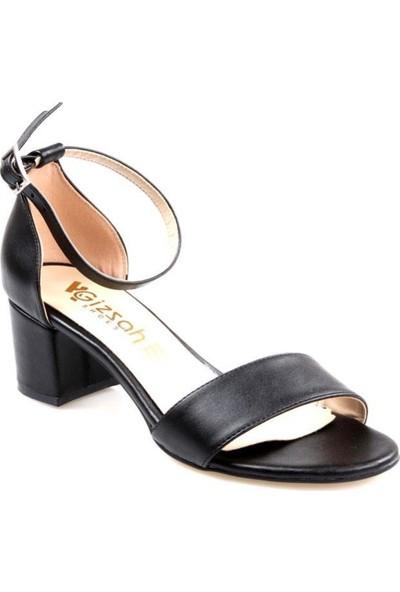 Gizsah Gizzah Kadın Tek Bant Kısa Topuk Siyah Sandalet Ayakkabı