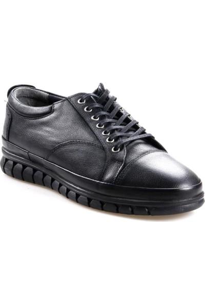 Goes 486 Kauçuk Taban Ortapedik Siyah Günlük Erkek Deri Ayakkabı