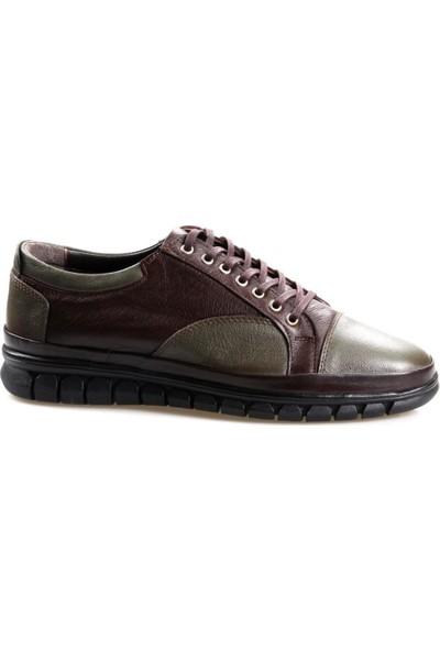 Goes 486 Kauçuk Taban Ortapedik Kahve-Yeşil Günlük Erkek Deri Ayakkabı