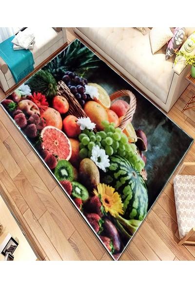 Asfar Meyve Desenli Kaymaz Taban Mutfak Halısı 120 x 160 cm