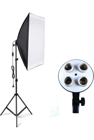 Soundizayn Softbox 50 x 70 cm 4 Duylu Sürekli Işık 200 cm Ayaklı Set Video ve Ürün Çekim Youtube Make Up
