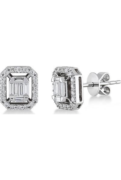 D Diamond 0,50 Karat Pırlanta Baget Küpe (Altın)