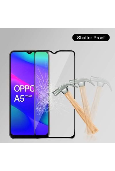 Microsonic Oppo A5 2020 Tam Kaplayan Temperli Cam Ekran Koruyucu - Siyah
