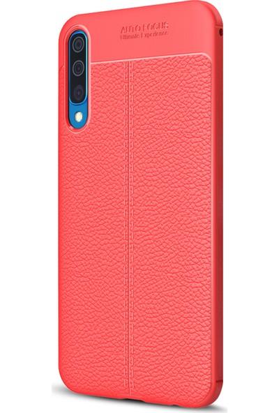 Microsonic Samsung Galaxy A30s Kılıf Deri Dokulu Silikon - Kırmızı