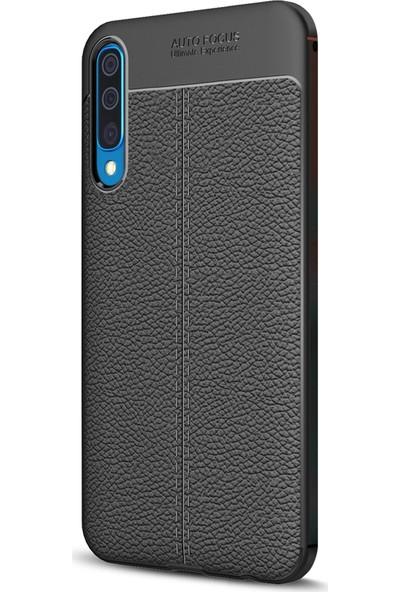 Microsonic Samsung Galaxy A30s Kılıf Deri Dokulu Silikon - Siyah