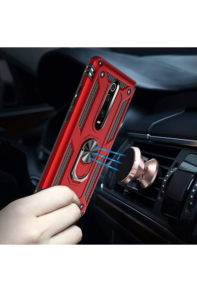 Microsonic Xiaomi Redmi K20 Kılıf Military Ring Holder - Gümüş