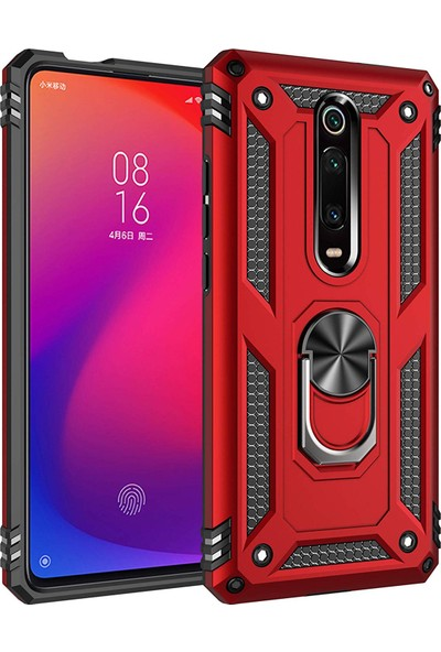 Microsonic Xiaomi Redmi K20 Kılıf Military Ring Holder - Kırmızı