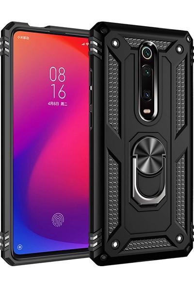 Microsonic Xiaomi Redmi K20 Kılıf Military Ring Holder - Siyah