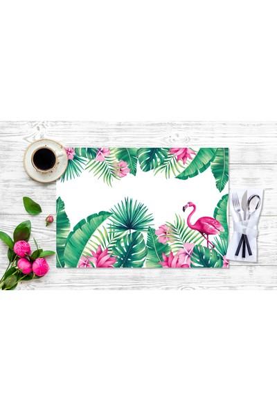 BRN Büyük Flamingo Desenli Amerikan Servis 4'lü