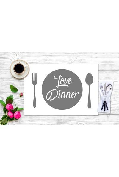 BRN Love Dinner' Gri Görselli Amerikan Servis 4'lü