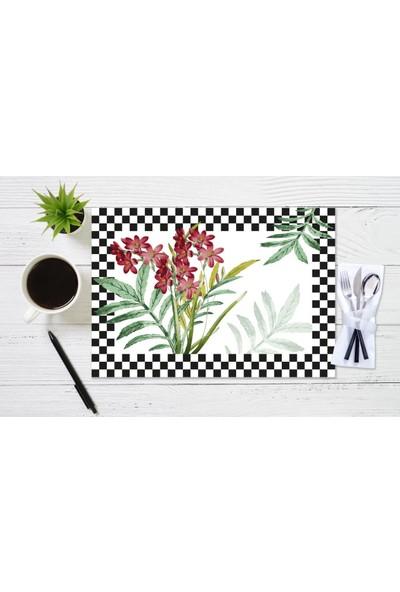 BRN Kırmızı Çiçek ve Dama Desenli Amerikan Servis 4'lü Sİyah