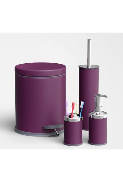 Alper Banyo Çöp Kovası - Klozet Fırçası - Diş Fırçalık - Sıvı Sabunluk Banyo Seti Mor 5 lt