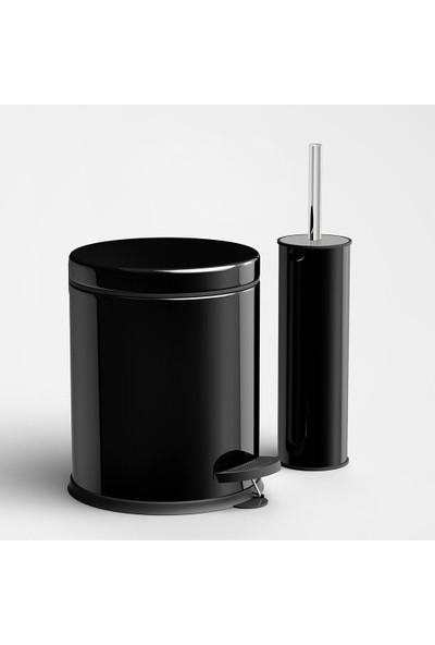 Alper Banyo Pedallı Çöp Kovası Klozet Fırçası Seti Siyah 3 lt
