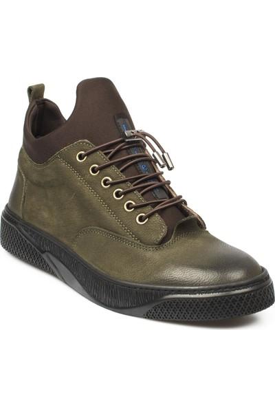 F.Marcetti F.Marcetti 19-035M Bağlı Deri Casual Haki Erkek Ayakkabı