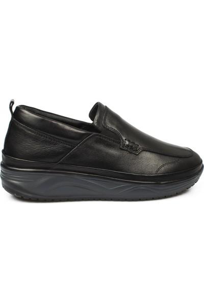F.Marcetti F.Marcetti 20390M Bağsız Deri Siyah Erkek Ayakkabı