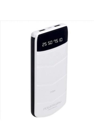 Powerway TX-101 10.000 mAh Çift USB Girişli Dijital Ekran Taşınabilir Şarj Cihazı