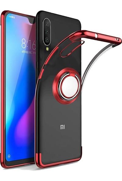 Happyshop Xiaomi Mi 9 Lite Kılıf 4 Köşe Renkli Yüzüklü Manyetik Gess Silikon + Nano Cam Ekran Koruyucu Kırmızı