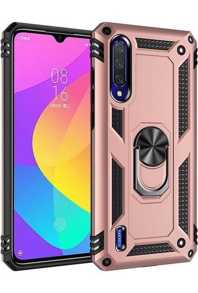 Happyshop Xiaomi Mi A3 Kılıf Ultra Korumalı Yüzüklü Manyetik Vega Kapak + Cam Ekran Koruyucu Rose Gold