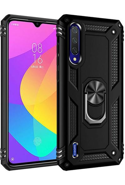 Happyshop Xiaomi Mi A3 Kılıf Ultra Korumalı Yüzüklü Manyetik Vega Kapak + Cam Ekran Koruyucu Siyah