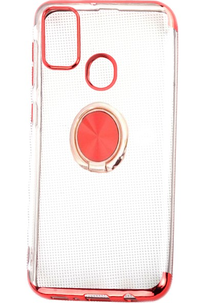 Happyshop Samsung Galaxy M30s Kılıf 4 Köşe Renkli Yüzüklü Manyetik Gess Sillikon + Nano Cam Ekran Koruyucu Kırmızı