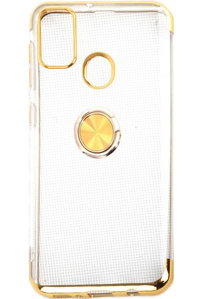 Happyshop Samsung Galaxy M30s Kılıf 4 Köşe Renkli Yüzüklü Manyetik Gess Sillikon + Nano Cam Ekran Koruyucu Gold