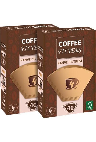 Coffee Filters Filtre Kahve Kağıdı No:4 40'lı @ 2 Paket