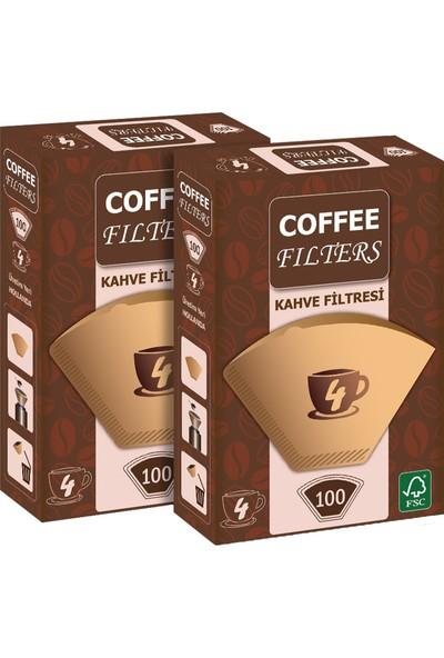 Coffee Filters Filtre Kahve Kağıdı No:4 100'lü @ 2 Paket