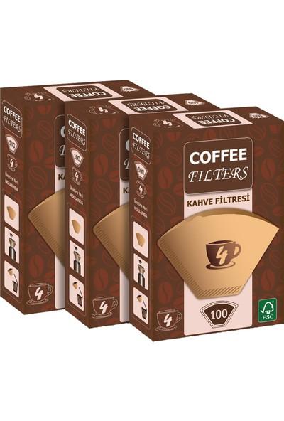Coffee Filters Filtre Kahve Kağıdı No:4 100'lü @ 3 Paket