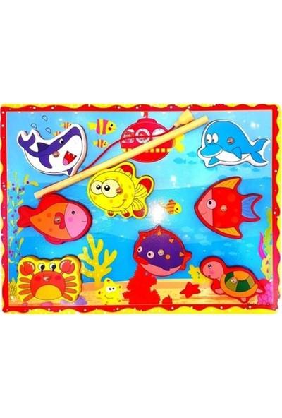 Woody Life Ahşap Mıknatıslı Balık Tutma Oyunu Montessori Çocuk Etkinlik Zeka ve Beceri Oyunu