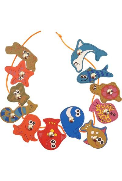 Woody Life Ahşap Balık Tutma Ipe Dizme Bultak Oyunu Montessori Çocuk Etkinlik Zeka