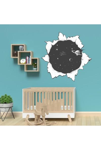 Sim Tasarım Siyah Beyaz Gezegenler Duvar Sticker