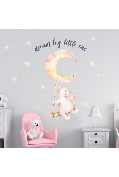 Sim Tasarım Salıncaklı Ayı Duvar Sticker Set
