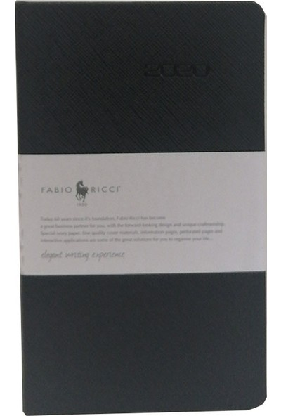 Fabio Ricci 2020 10 x 17 cm Günlük Çizgili Ajanda Siyah 1031