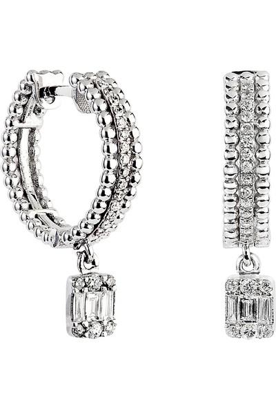 Clavis Jewelry Baget Pırlantalı Halka Küpe (CKP0886)