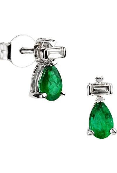 Clavis Jewelry Damla Zümrütlü Pırlanta Küpe (CKP0680)