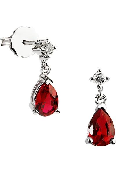 Clavis Jewelry Damla Yakutlu Pırlanta Küpe (CKP1414)