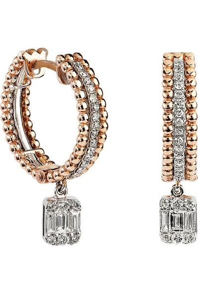 Clavis Jewelry Baget Pırlantalı Halka Küpe (CKP0729)
