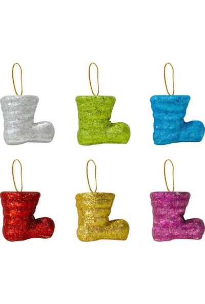 Bir Hayat Grup Yılbaşı Ağacı Süsü Renkli Çizmeler 6lı