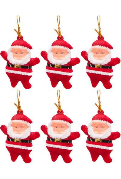 Bir Hayat Grup Yılbaşı Ağacı Süsü Simli Noel Baba 6lı