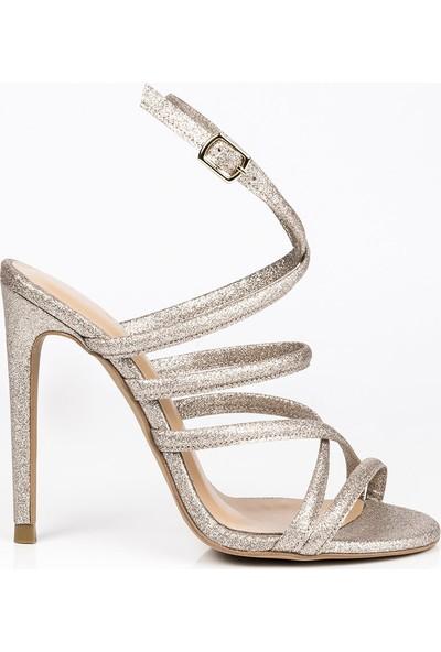 J'abotter Kimberly Altın Simli İnce Topuklu Ayakkabı