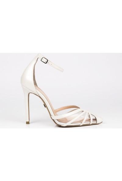 J'abotter Luck Sedefli Beyaz İnce Topuklu Ayakkabı