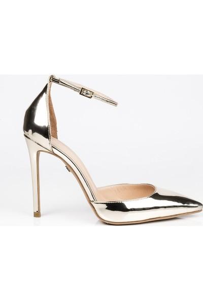 J'abotter Dolly Altın Ayna İnce Topuklu Ayakkabı