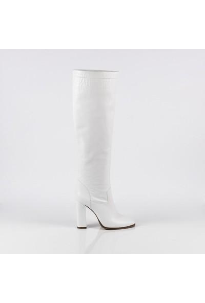 J'abotter Emma Beyaz Deri Çizme