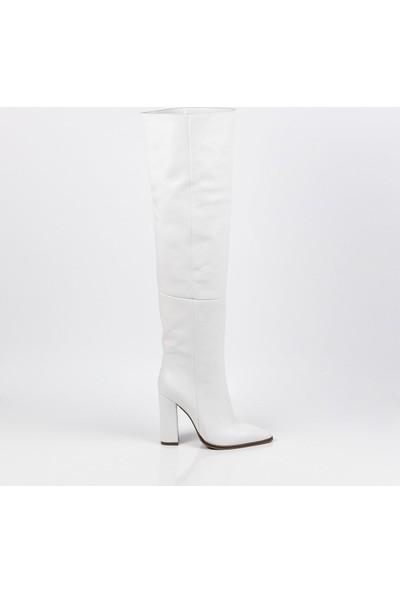 J'abotter Paula Beyaz Deri Çizme