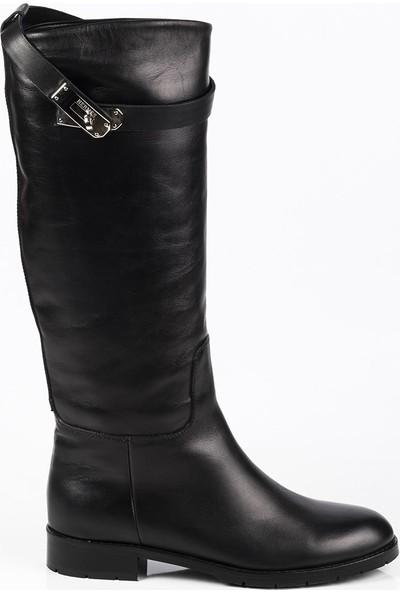 J'abotter Hermes Siyah Deri Çizme