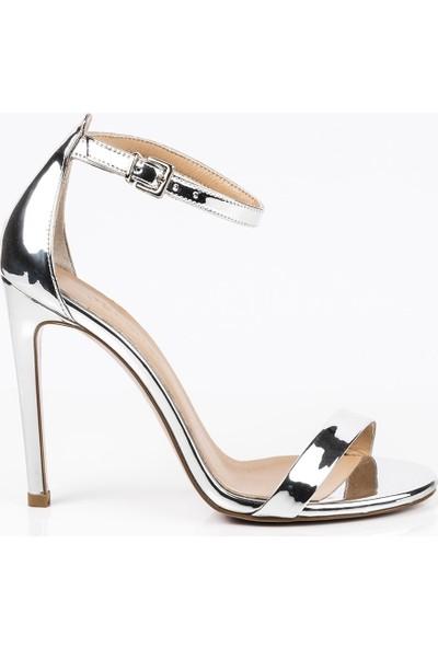 J'abotter Elegant Mini Gümüş Ayna 10 Cm Topuklu Ayakkabı