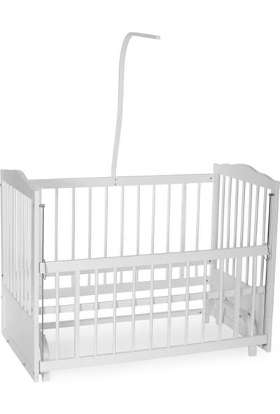 Bamgidoo 60 x 120 cm cm Ahşap Beyaz Anne Yanı Bebek Beşiği-Pembe Prenses