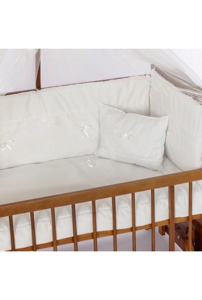 Bamgido Ceviz 60 x 120 cm Anne Yanı Bebek 60 x 120 cm Ahşap Anne Yanı Bebek Beşiği-Krem Güpürlü