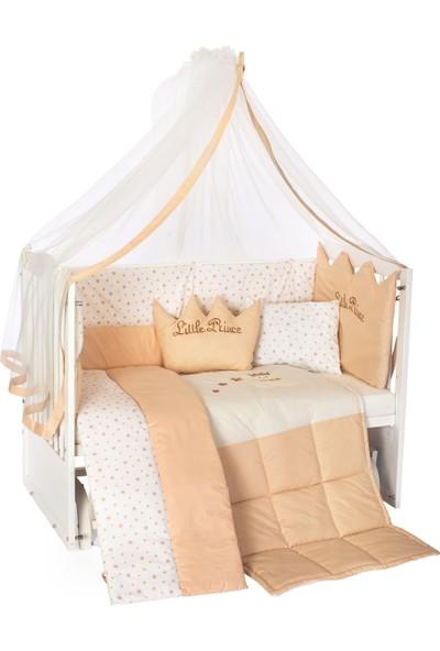 Bamgidoo 60 x 120 cm Ahşap Beyaz Anne Yanı Bebek Beşiği-Krem Nakışlı Prens